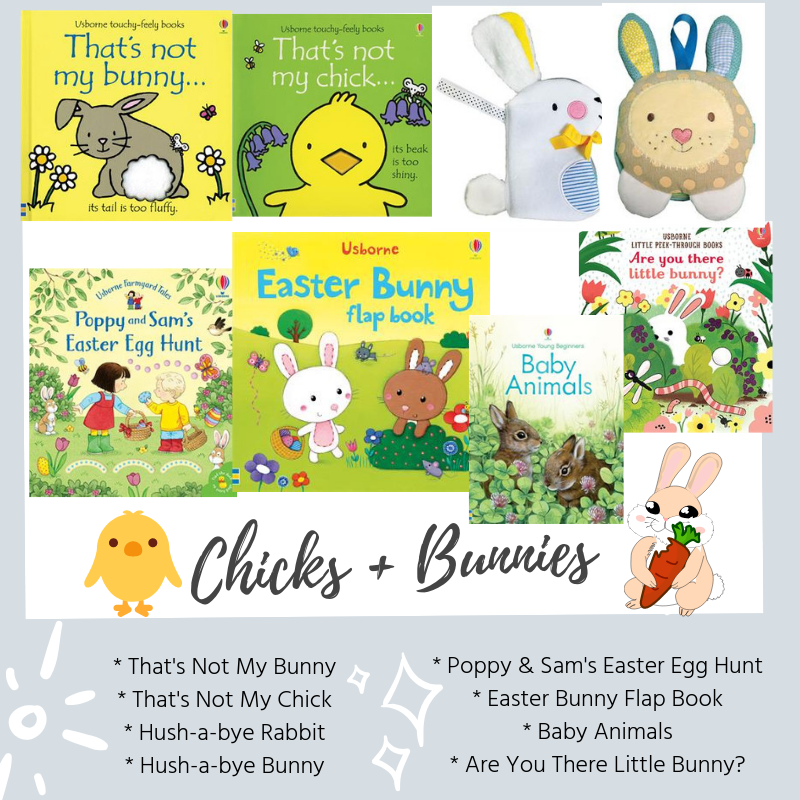 easter book box - chicks and bunnies